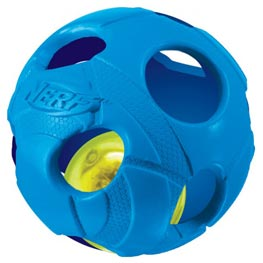 Nerf Dog Illuma Action LED Bash-Ball ø 6,4 cm blau Hundespielzeug